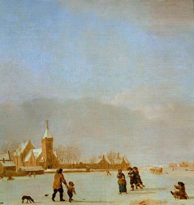 Winter Landscape With Skaters Oil On Panel Art Print by Adriaen van de Velde