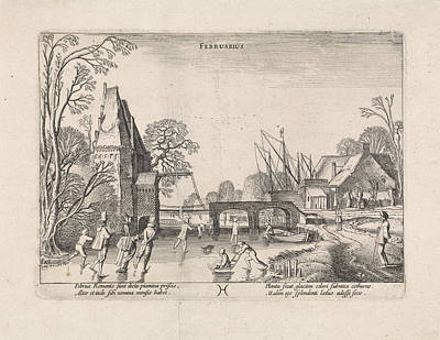 Winter Landscape With Skaters On The Ice Art Print by Jan Van De Velde (ii)