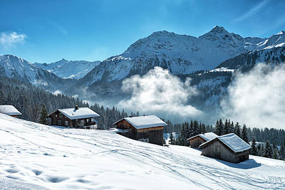 Ski Resort Photograph - Winter Landscape With Ski Lodge In by Kemter