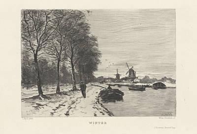 Winter Landscape With Speed And Mills, Willem Steelink II Art Print