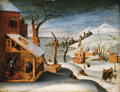 Joseph And The Angel Painting - Winter Landscape With The Angel Appearing To Saint Joseph The Massacre Of The Innocents And The Flig by Abel Grimmer