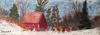 Laundry Painting - Winter Laundry by Linda Dessaint
