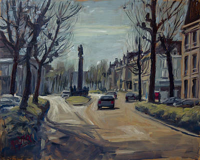 Painting - Winter Light At The Wilhelmina Singel In Maastricht by Nop Briex