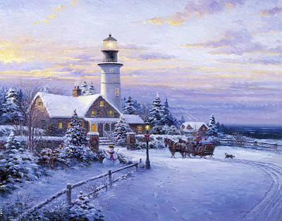 Pallet Knife Painting - Winter Lighthouse by Ghambaro