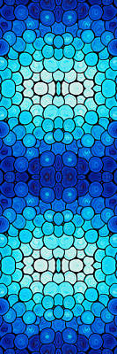 Striking Painting - Winter Lights - Blue Mosaic Art By Sharon Cummings by Sharon Cummings
