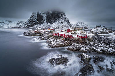 Red House Photograph - Winter Lofoten Islands by Andy Chan
