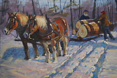 Winter Logging Original by Len Stomski