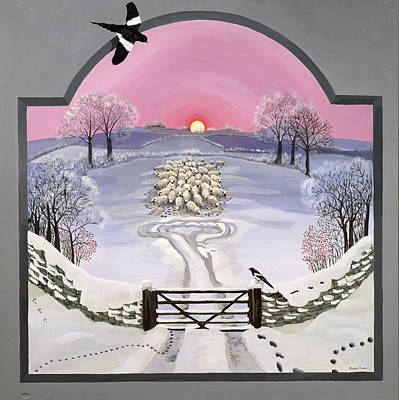 Magpies Painting - Winter by Maggie Rowe