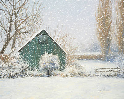 Snowfall Painting - Winter Magic by Lucie Bilodeau