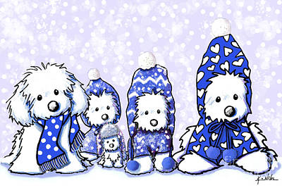 Kiniart Digital Art - Winter Maltese Boys by Kim Niles