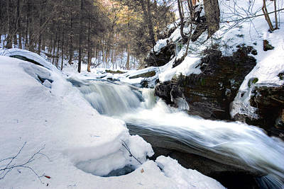 Winter Meltdown Rushing Over Conestoga Falls Art Print by Gene Walls