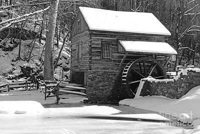 Winter Mill In Black And White Print by Paul Ward