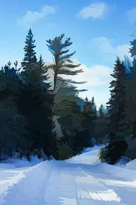Pathway Digital Art - Winter Mood Impressions - Snowy Road In Algonquin by Georgia Mizuleva