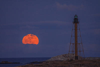 Winter Moon Rising Over Marblehead Light Art Print by Jeff Folger