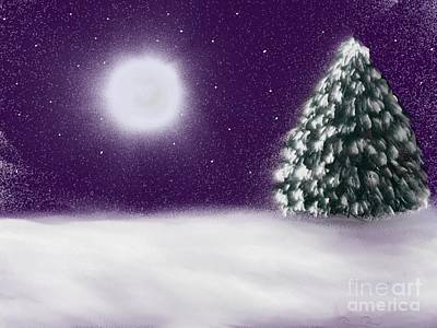 Windblown Painting - Winter Moon by Roxy Riou