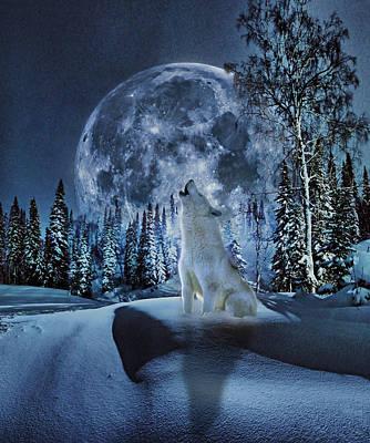 House Pet Digital Art - Winter Moon Song by Yury Malkov