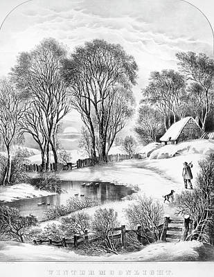 Nathaniel Painting - Winter Moonlight, 1866 by Granger
