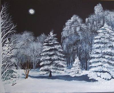Winter Moonlight In The Country Art Print