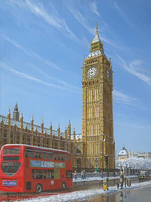 Bus Painting - Winter Morning Big Ben Elizabeth Tower London by Richard Harpum