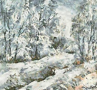 Snow Painting - Winter Morning by Dragica  Micki Fortuna