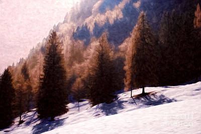 Trees In Snow Digital Art - Winter Morning In Austria by Sabine Jacobs