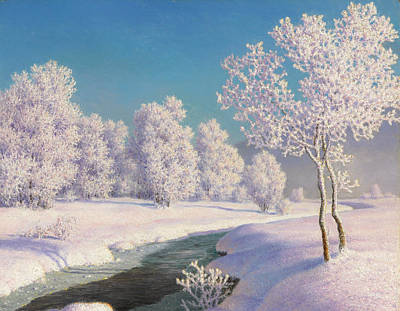 Snowy Stream Painting - Winter Morning In Engadine by Ivan Fedorovich Choultse
