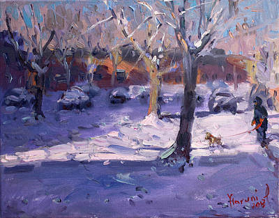 Winter Morning In My Courtyard Art Print by Ylli Haruni
