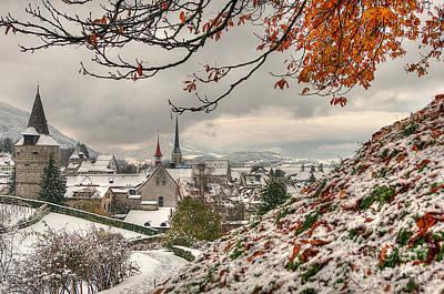 Winter Morning In Zug Art Print by Caroline Pirskanen