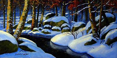 Snowy Brook Painting - Winter Morning Light by Frank Wilson