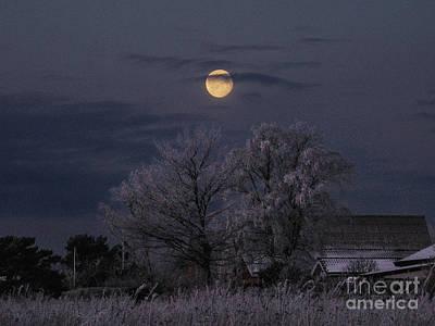 Winter Morning Moon Original by Kim Lessel