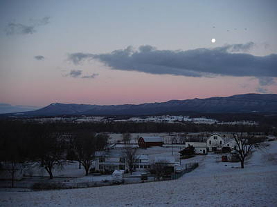 Photograph - Winter Morning Moon by Michael Wawrzyniec