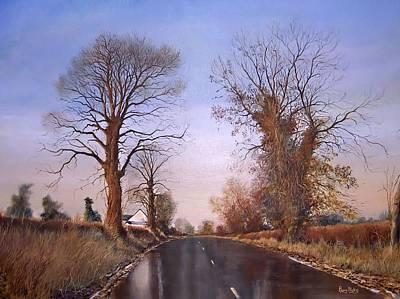 Winter Morning On Calverton Lane Art Print by Barry BLAKE