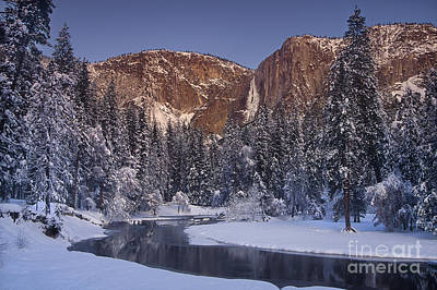 Photograph - Winter Morning Yosemite Falls Yosemite National Park California by Dave Welling