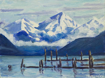 Painting - Winter Mountains Alaska by Yulia Kazansky
