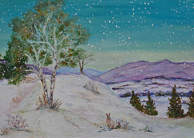 Winter Mountains With Hare Art Print