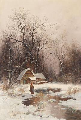 Adolf Painting - Winter Near Lyon by Celestial Images