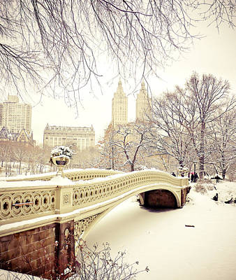 City Skyline Photograph - Winter - New York City - Central Park by Vivienne Gucwa