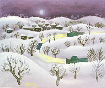 Winter Night, 1971 Oil On Canvas Art Print by Radi Nedelchev
