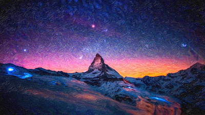 Winter Night Painting - Winter Night High Peak by MotionAge Designs