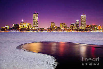 Charles River Photograph - Winter Night In Boston by Benjamin Williamson