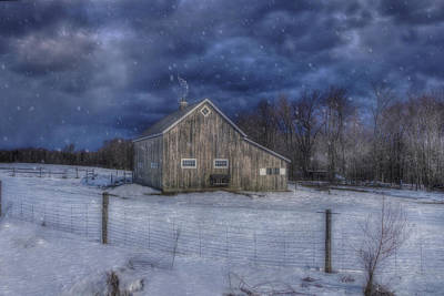 Barns In Snow Photograph - Winter Night In Vermont With Snow Falling Over Barn by Joann Vitali