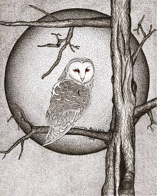 Stipple Owl Drawing - Winter Night by Marie Wern