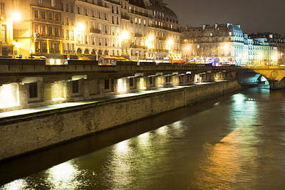 Paris Photograph - Winter Night On The Seine In Paris by Mark E Tisdale