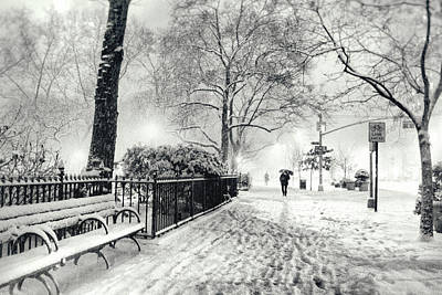 Bryant Park Photograph - Winter Night - Snow - Madison Square Park - New York City by Vivienne Gucwa