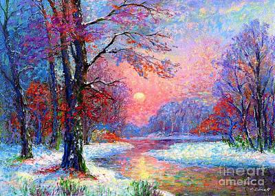 Sunset Painting - Winter Nightfall, Snow Scene  by Jane Small