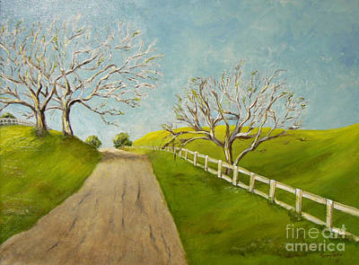 Art Print featuring the painting Winter Oaks by Terry Taylor