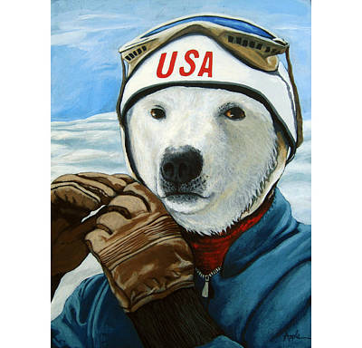 Winter Olympic Skier Art Print by Linda Apple