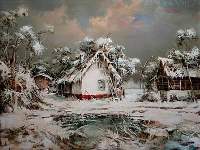 Painting - Winter On Little Village by Dragan Ivkovic
