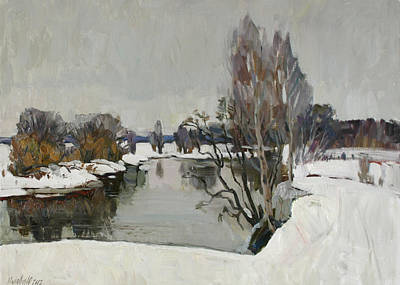 Winter On River Kliazma Art Print