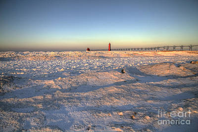 Winter On The Beach In Grand Haven Art Print